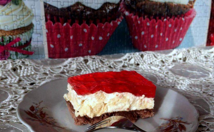 Ciasto z wafelkami i galaretką